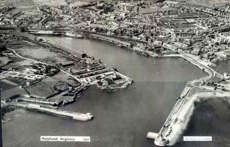 An aerial view of how Holyhead looks as the result of the new harbour works carried out in 1880