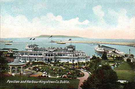 Kingstown Harbour in 1914 - showing one of the steam boats in the harbour