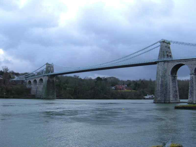 Menai Suspension Bridge taken from the banks of the Menai