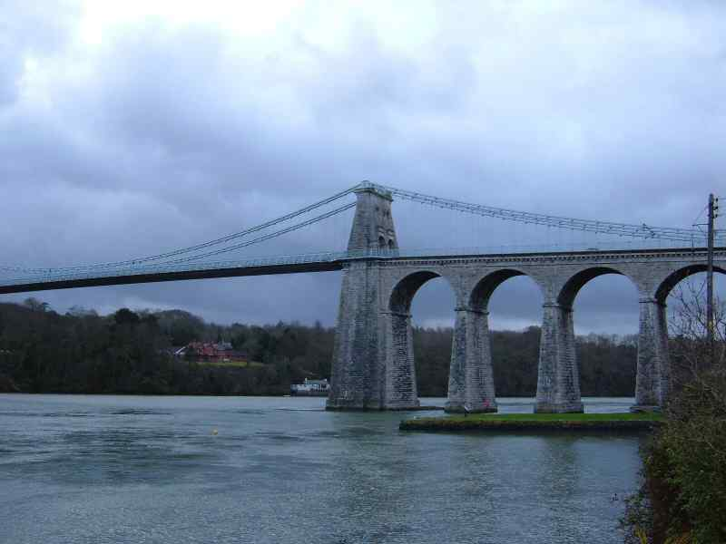 Menai Bridge photo showing four of its arches.