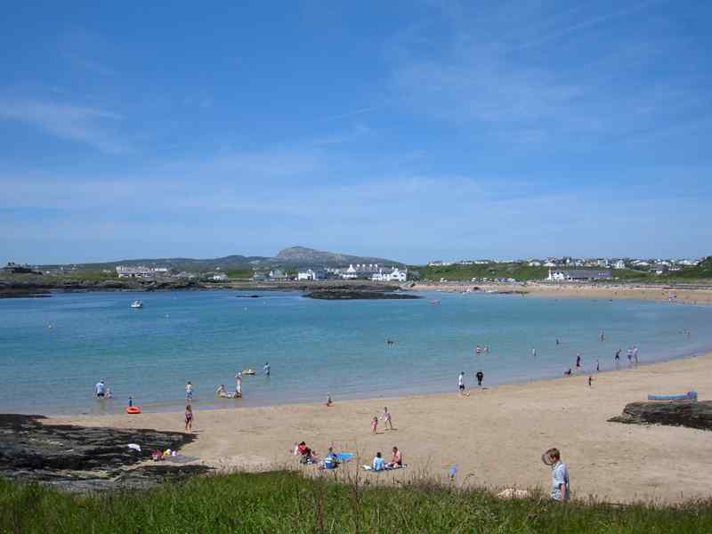 A view of Trearddur Bay beach and the sea