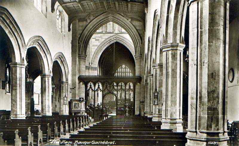 bangor - the cathedral nave 1920's
