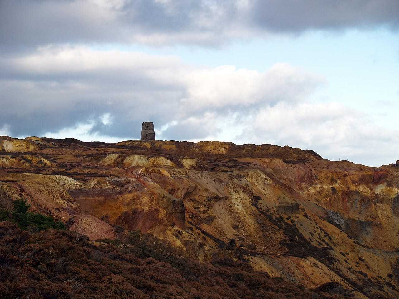 Anglesey, Amlwch, Parys Mountain Windmill at the highest point of the mountain