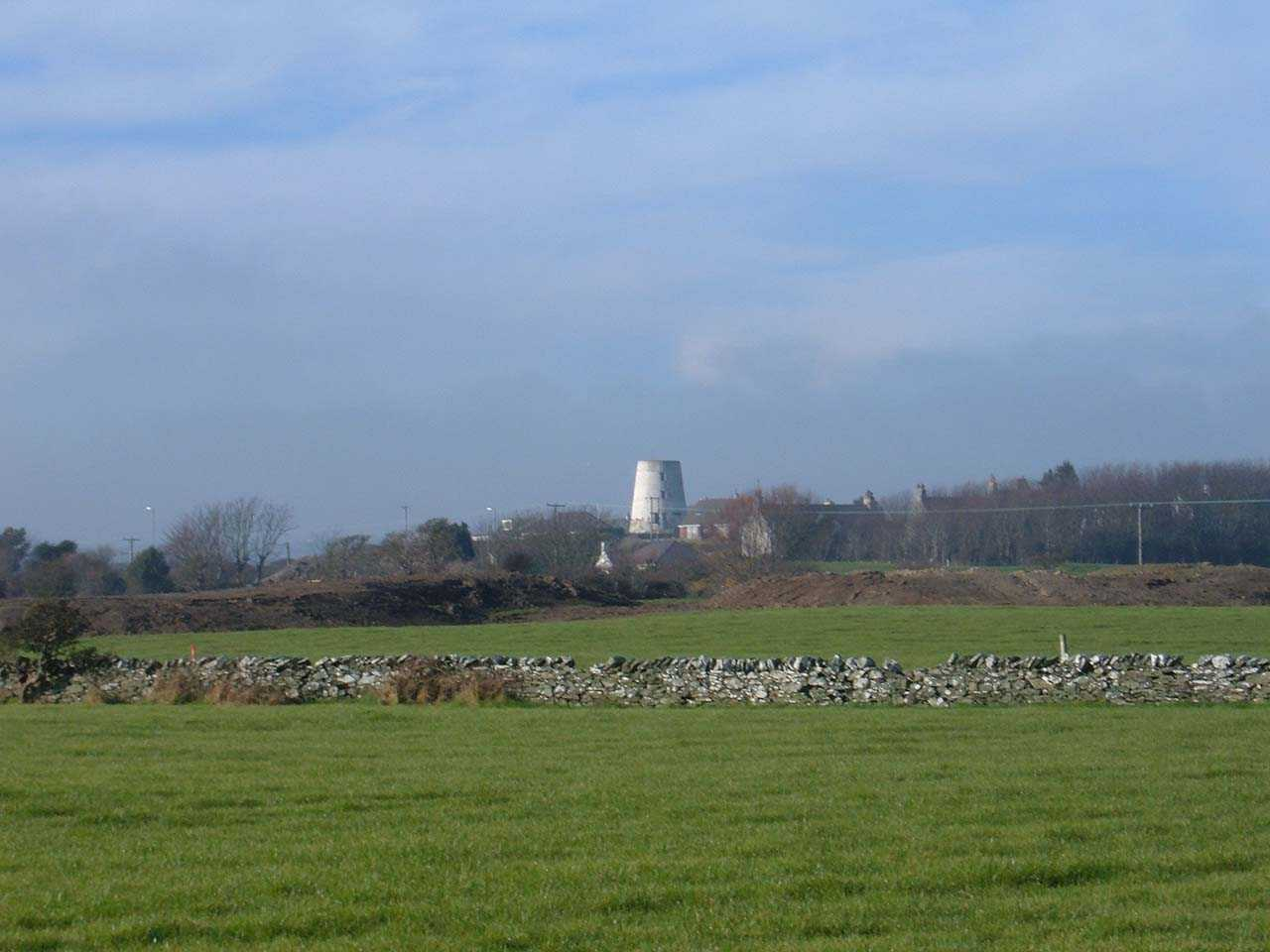 Anglesey, Holyhead, Mill Road, Melin Yr Ogof Windmill from Ty Mawr Development