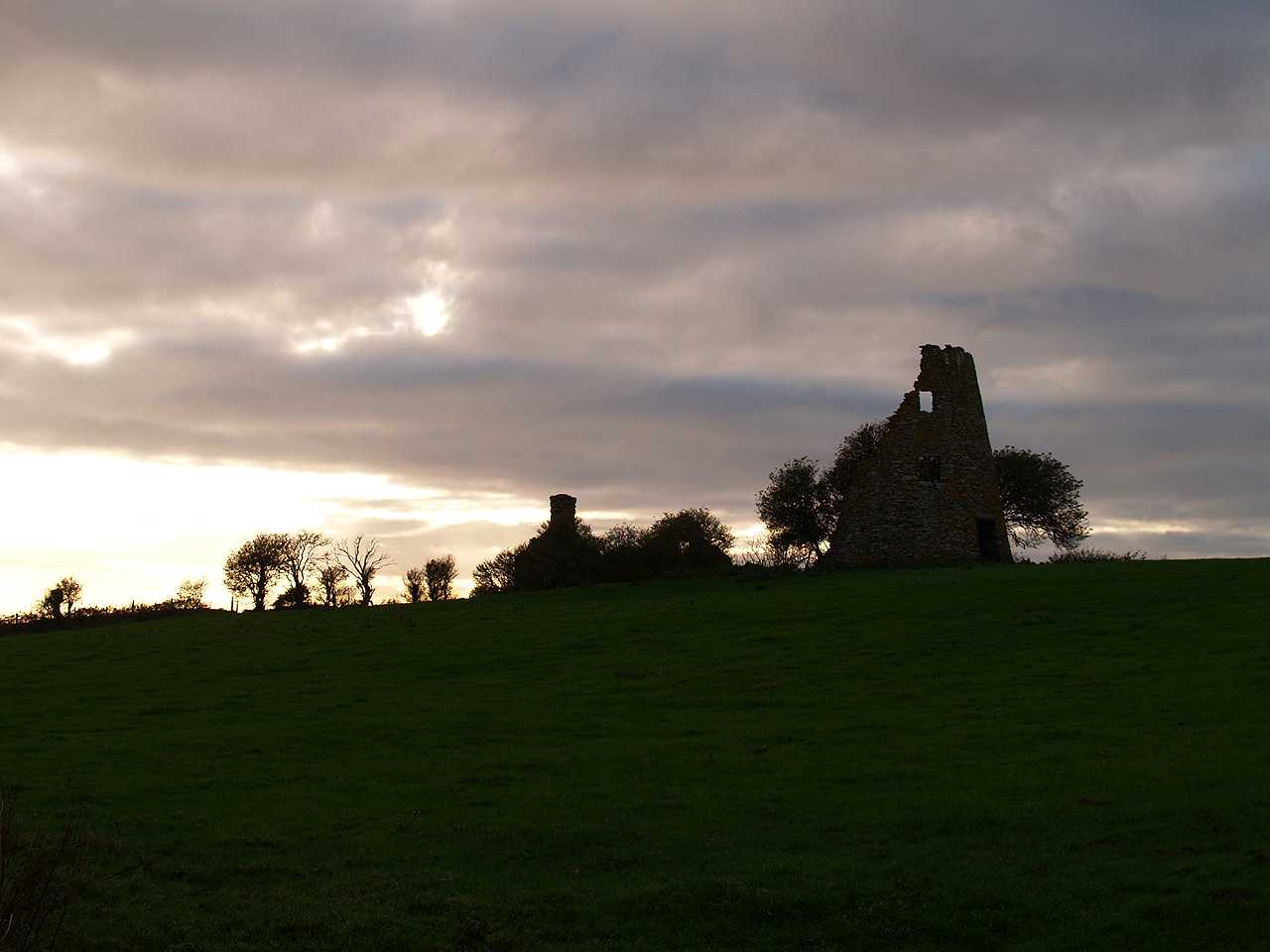 Bodedern, Felin Manaw Windmill and Millers Cottage at Twilight
