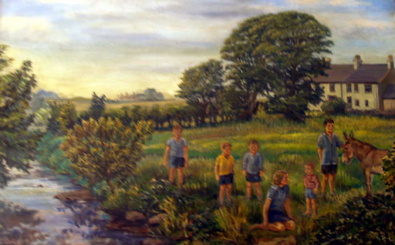 Llanbeulan, Felin Treban Millers House, a painting of the family c. 1960's