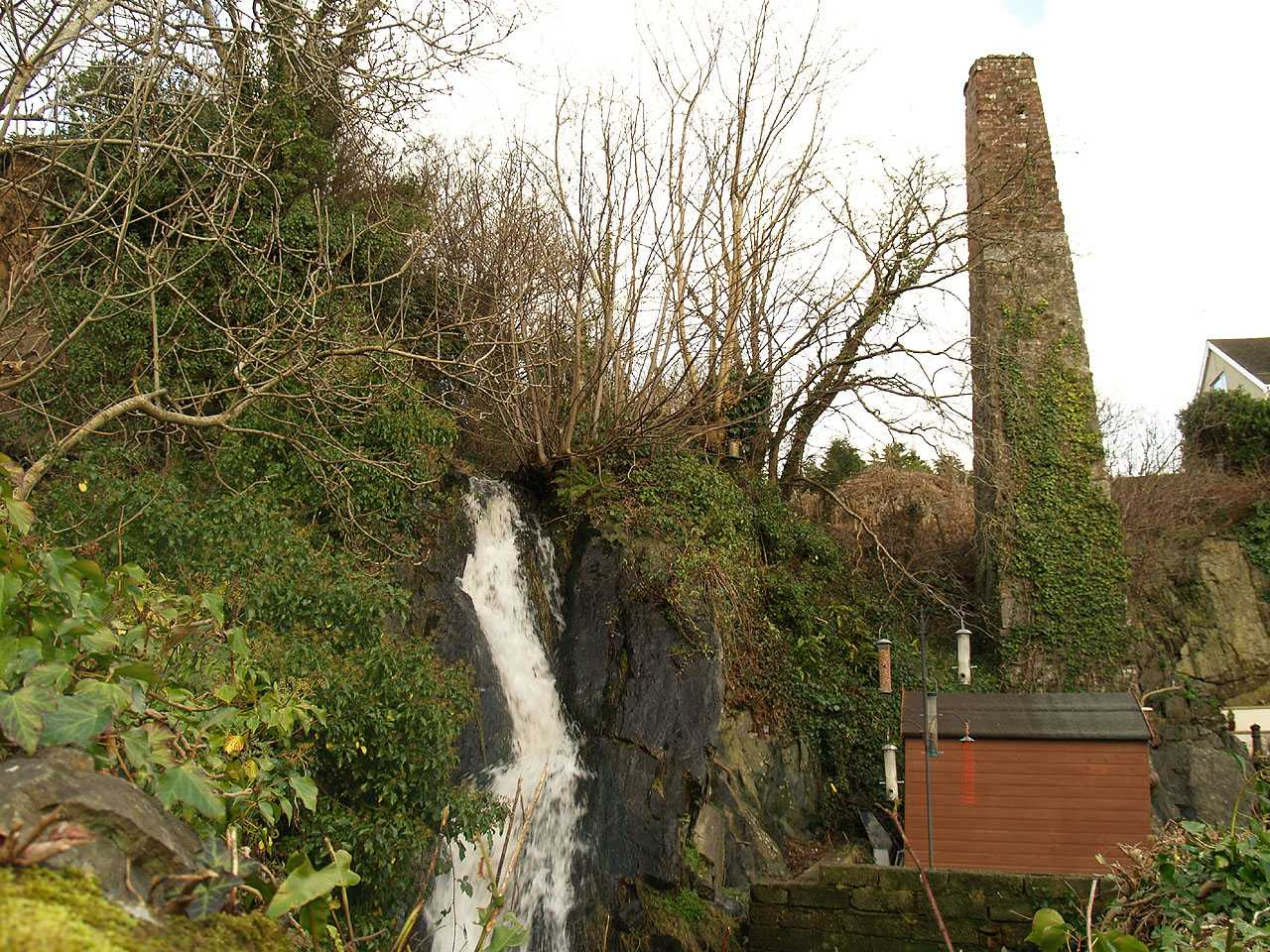 Pentre Berw, Felin Ferw Water Mill, the waterfall and the Chimney