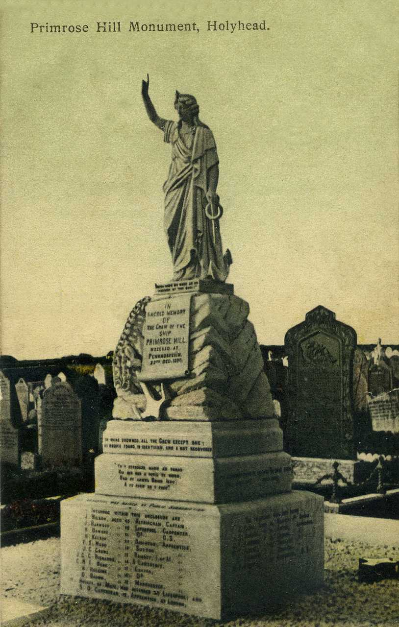 Anglesey, Holyhead, Maeshyfryd Cemetery, Primrose Hill Monument 1900's - sank in 1900