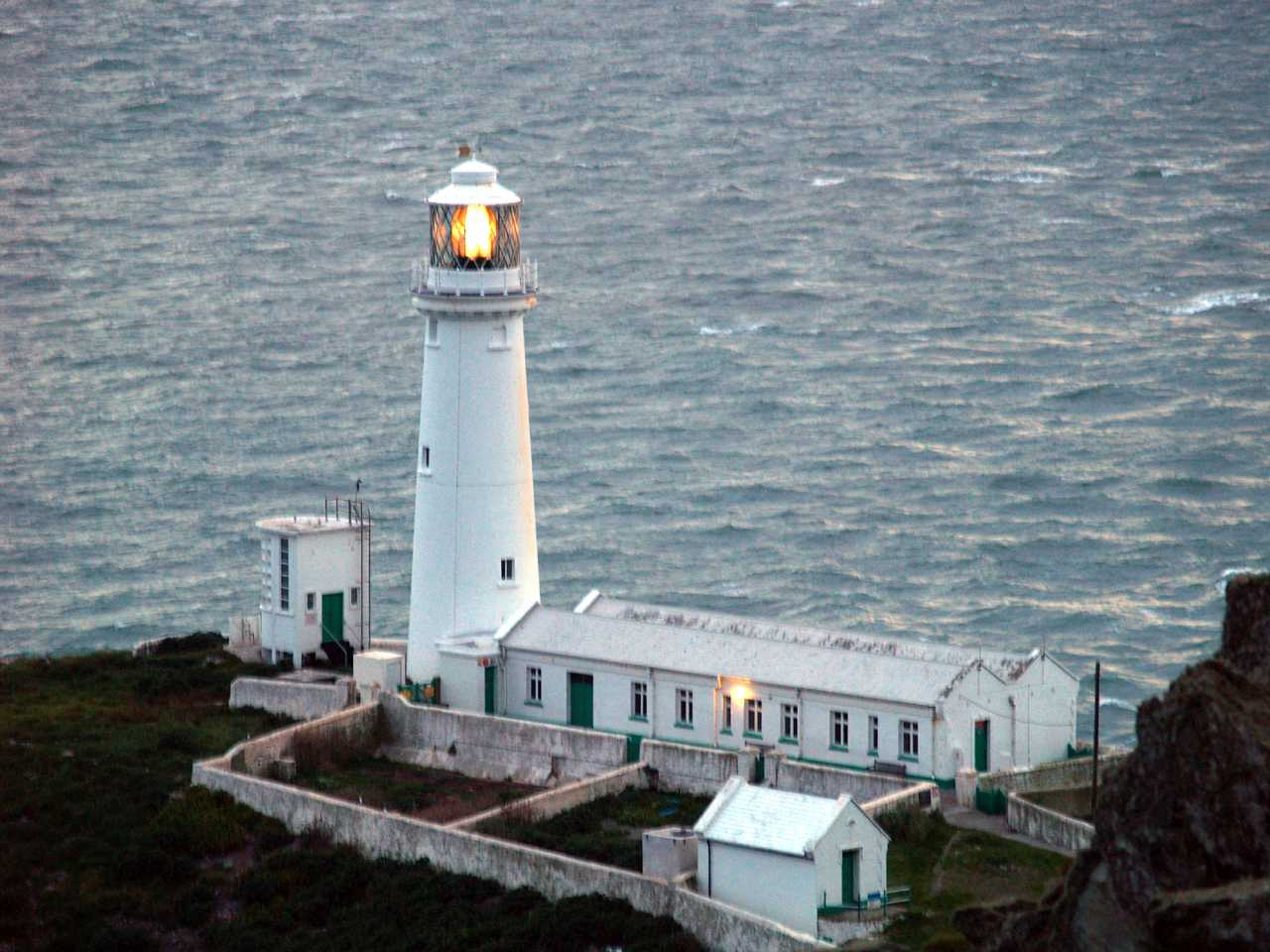 holyhead, south stack lighthouse in the evening