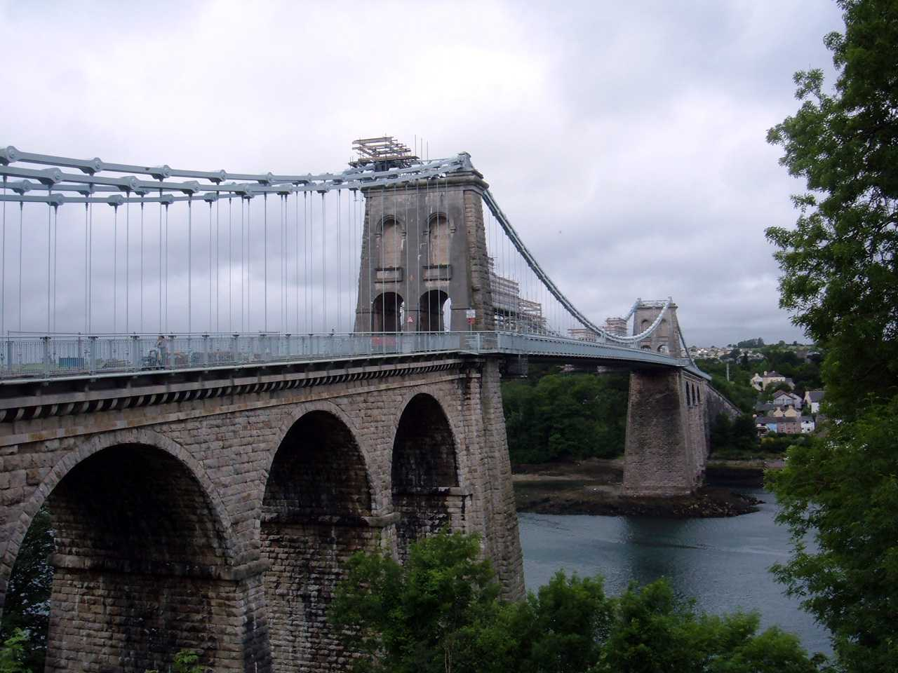 TheMenai Suspension Bridge being re-painted in 2005