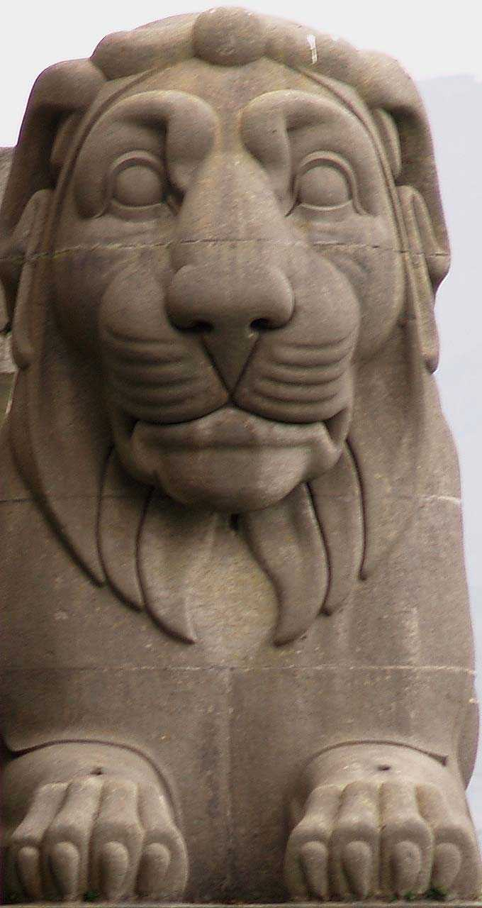 Menai Tubular Bridge, Anglesey Lion Head-on