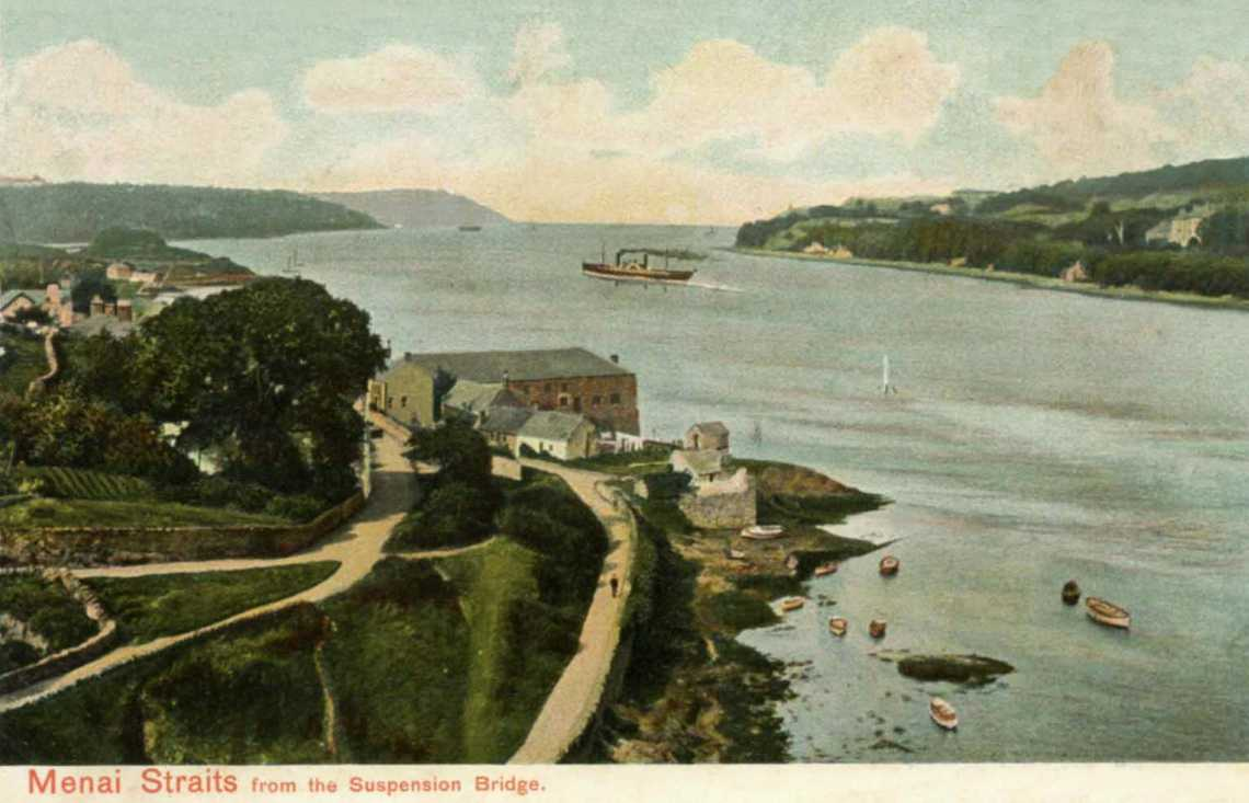 Anglesey, Menai Straits showing a steamboat
