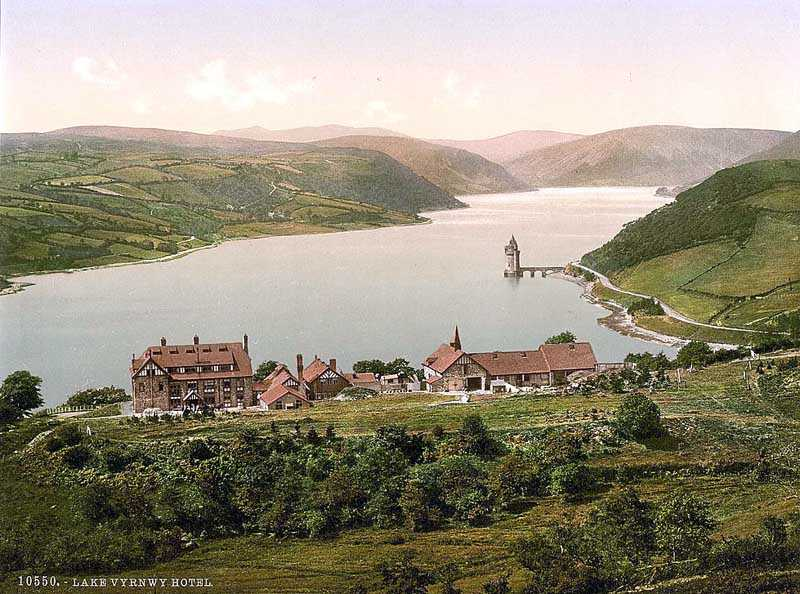 bala, llanwddyn - lake and hotel vyrnwy