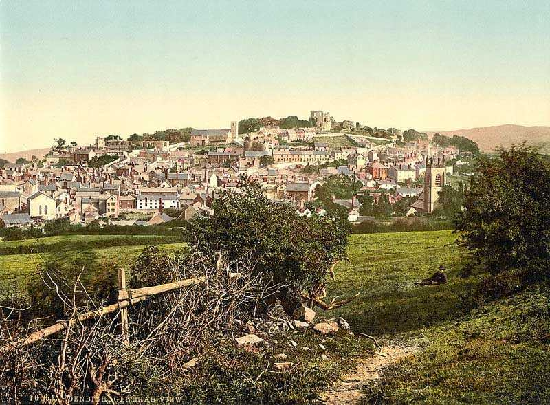 denbigh - general view old photo from the 1890's