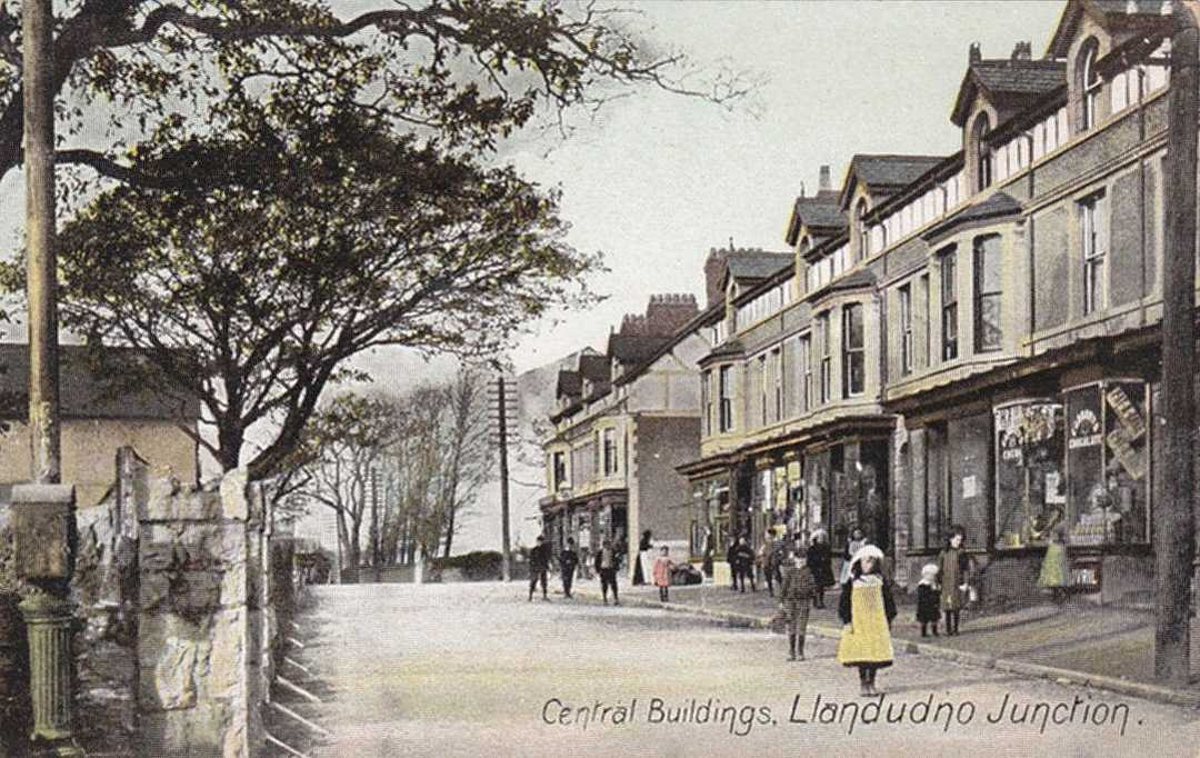 caernarfonshire, llandudno junction, central buildings - an early image
