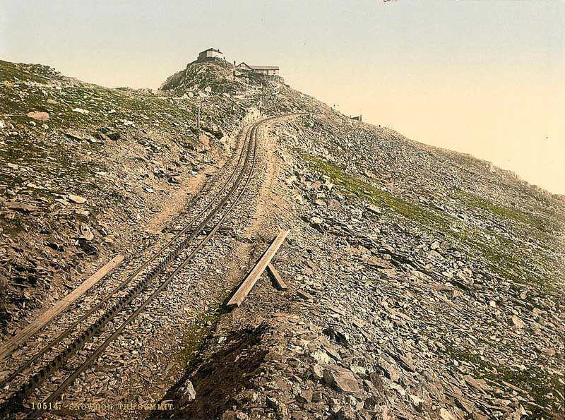 snowdon - mountain railway track at the summit