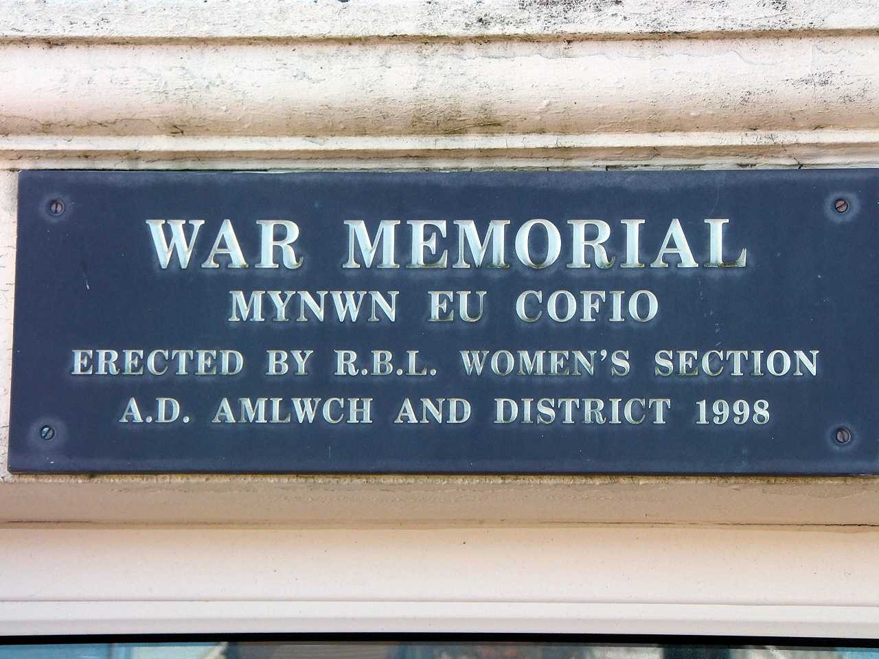 Anglesey, Amlwch War Memorial Hall - erected by the Womens Section of the Royal British Legion