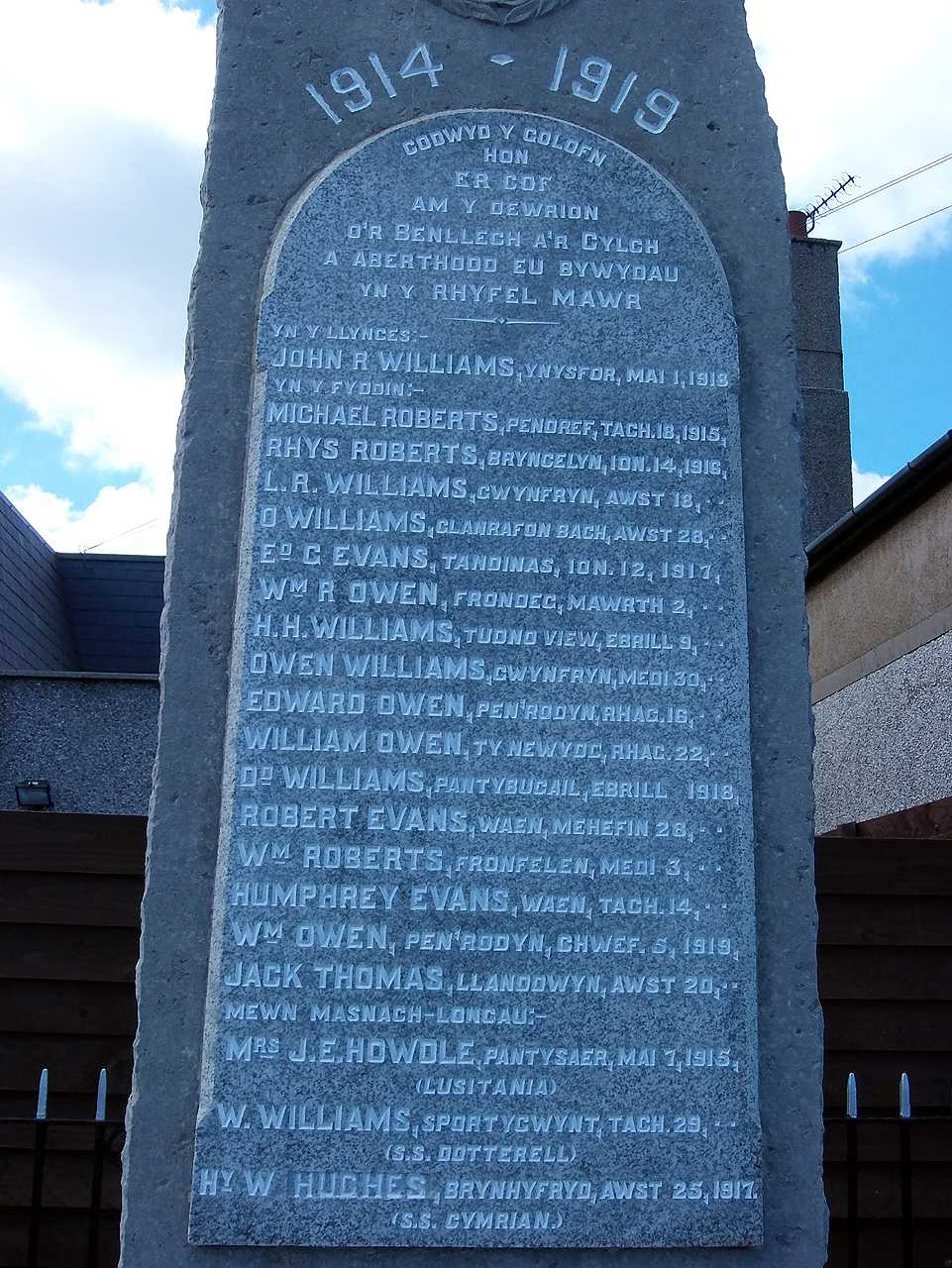 Benllech, WWI War Memorial Names