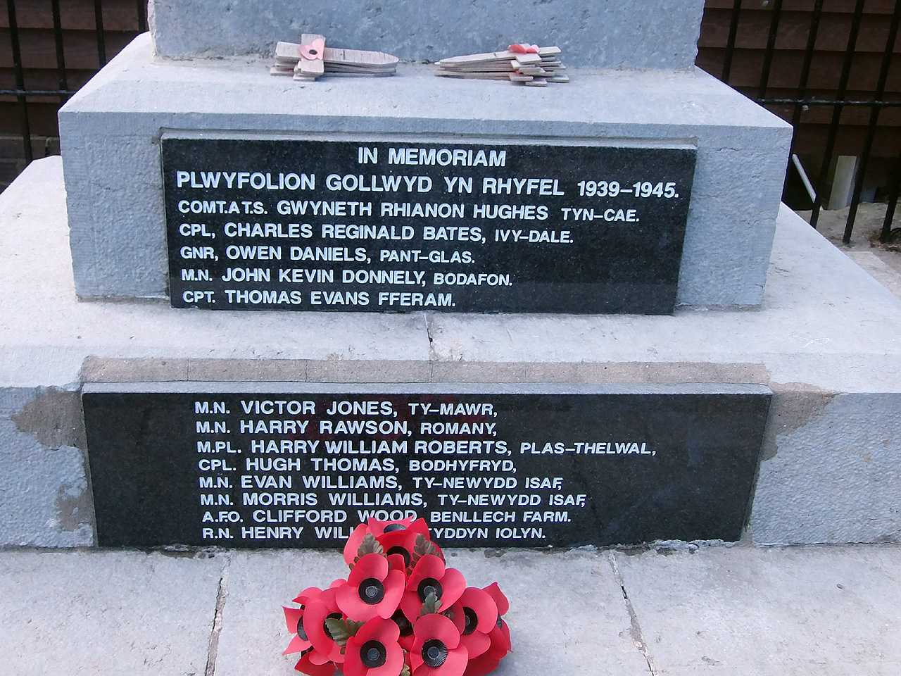 Benllech, WWII War Memorial Names