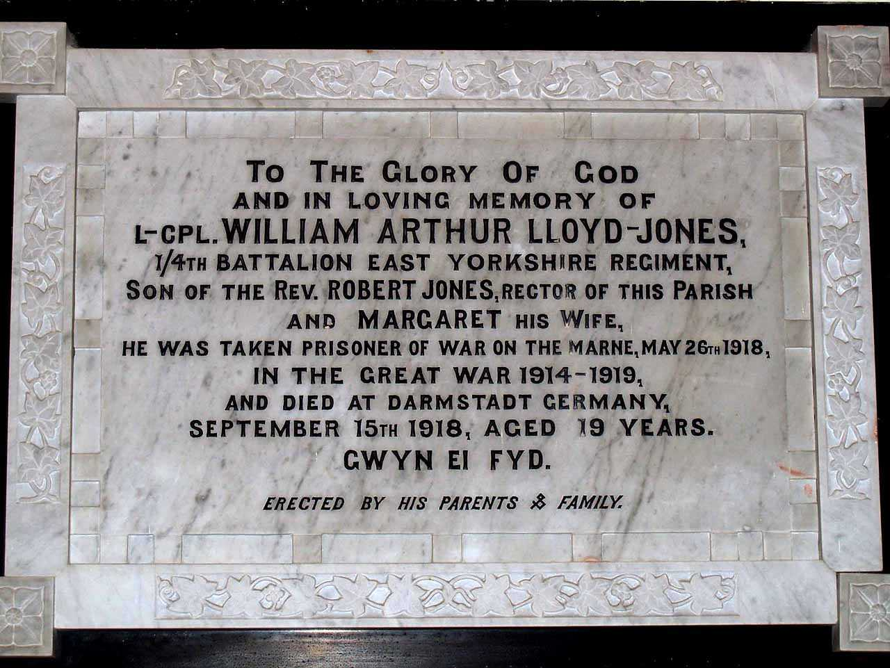 Anglesey, Bodffordd, Heneglwys Church Memorial to Lance Corporal William Arthur Lloyd-Jones aged 19 as a prisoner of war - son of the Rector