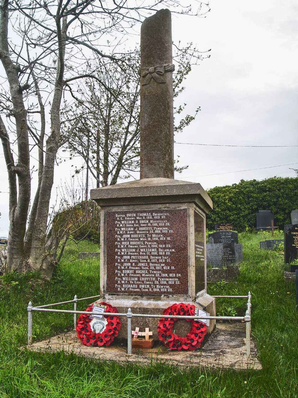 Anglesey, Bryn Du War Memorial and Wreaths in hdr