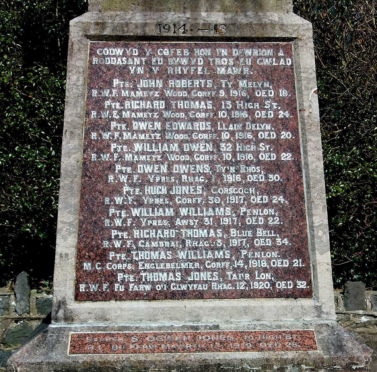 Anglesey, Bryngwran War Memorial, WWI Names and one added later