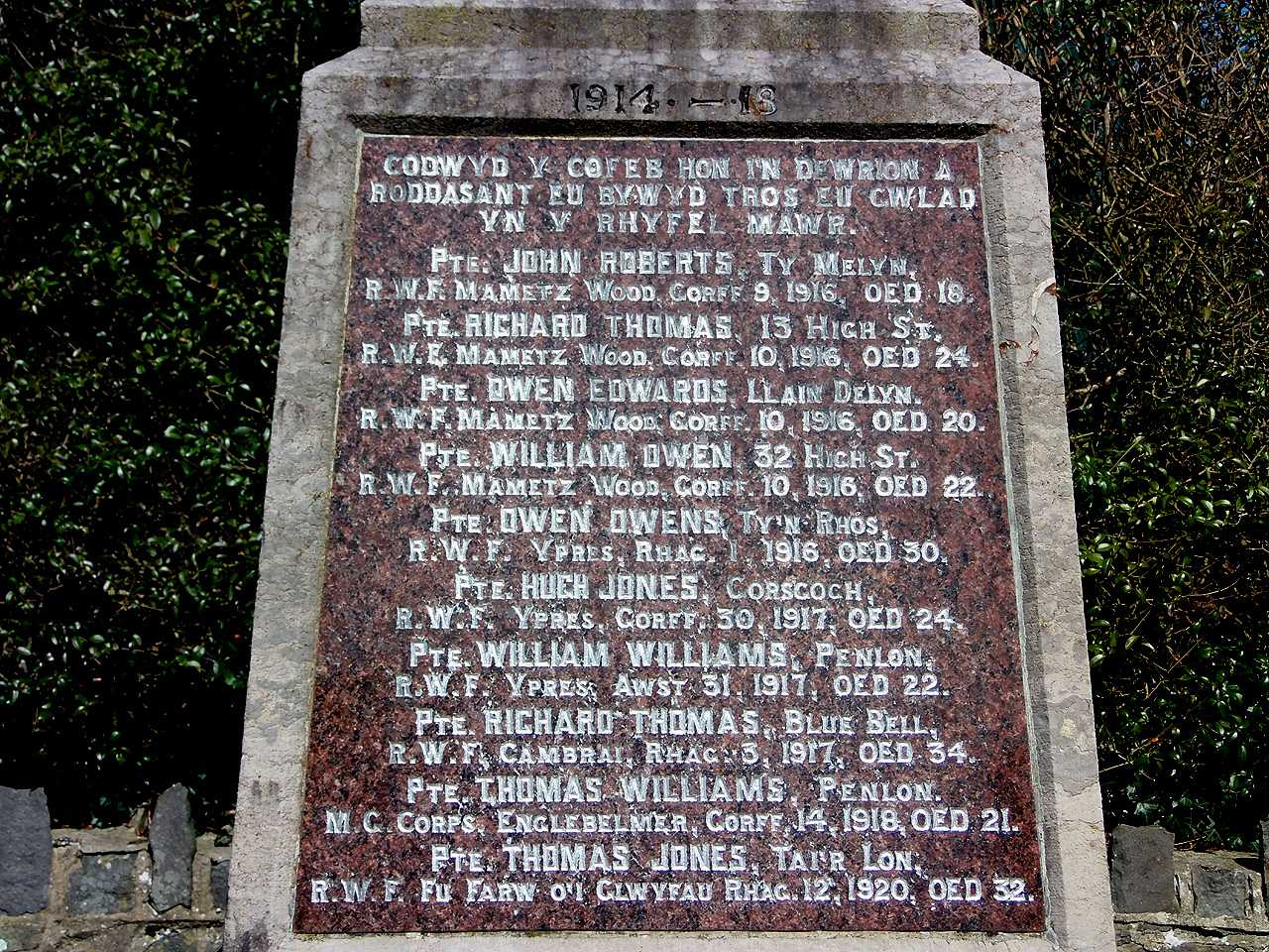 Anglesey, Bryngwran War Memorial, WWI Names