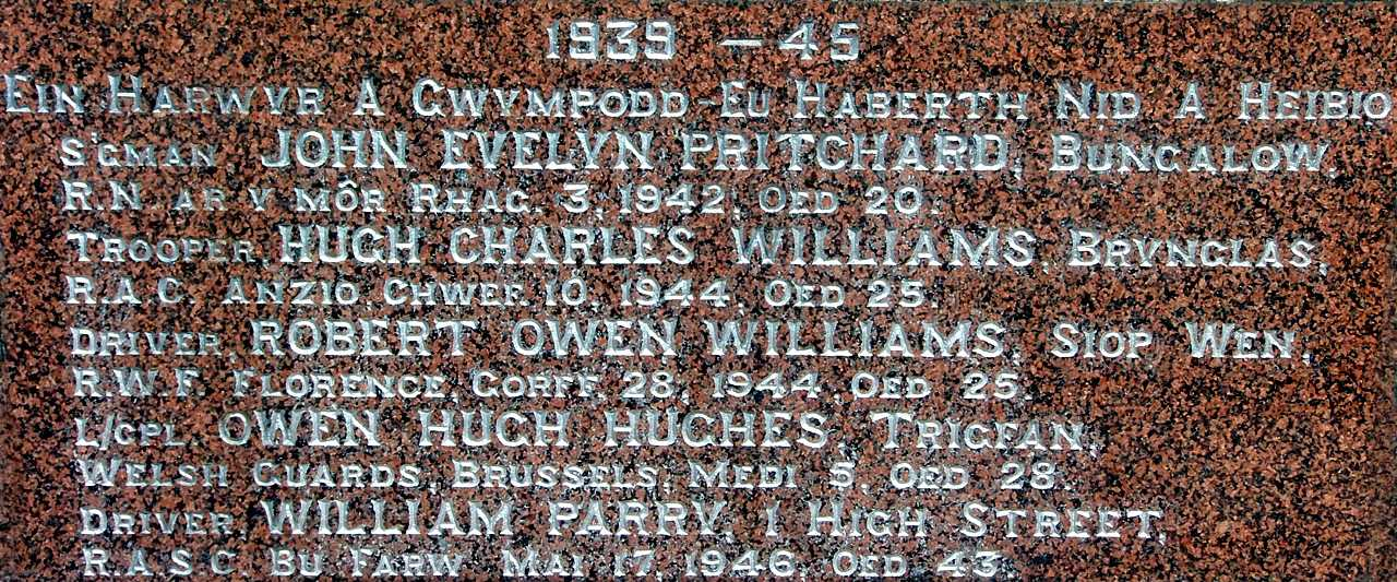 Anglesey, Bryngwran War Memorial, WWII Names