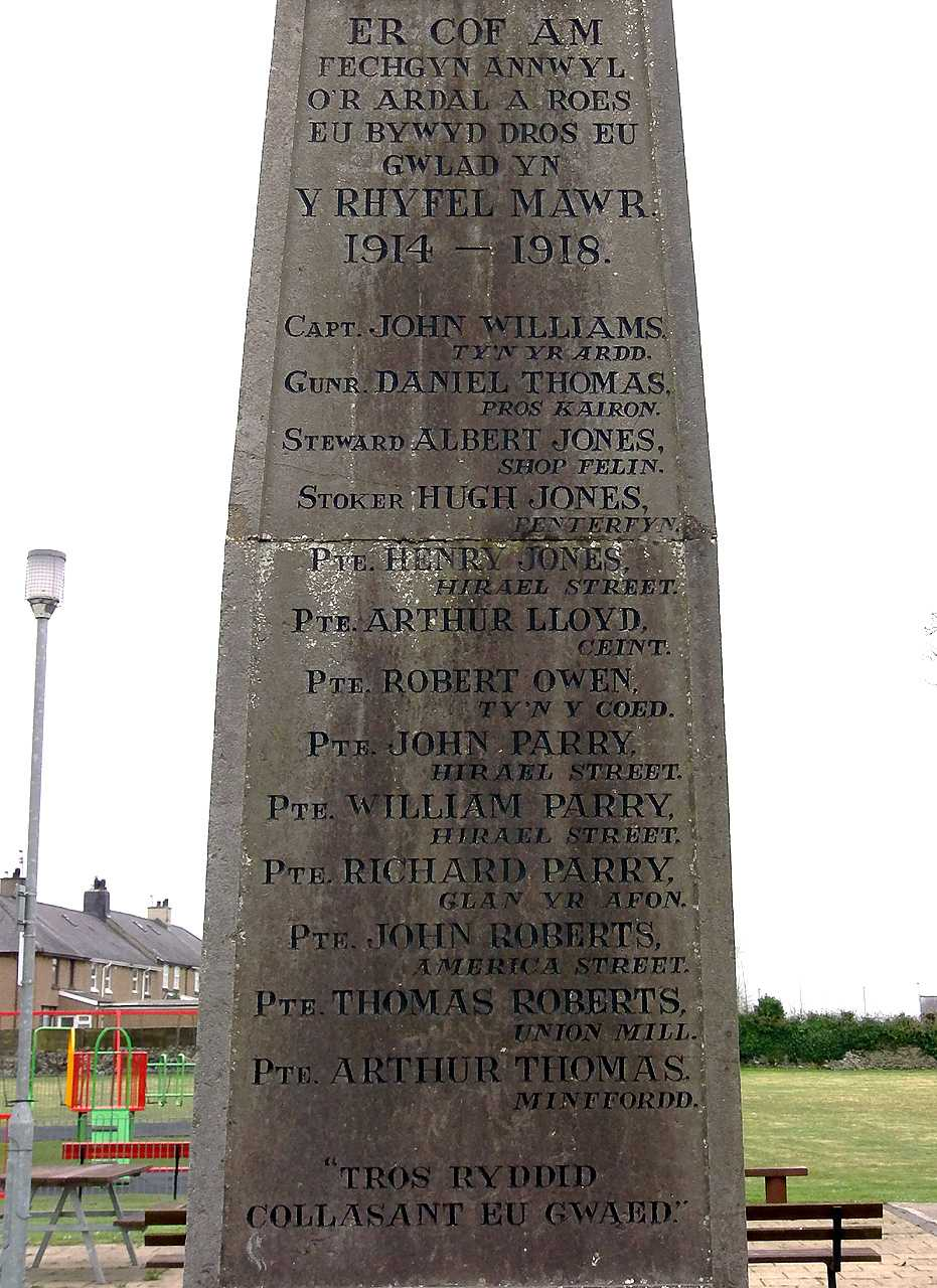 Gaerwen War Memorial WWI Casualty Names