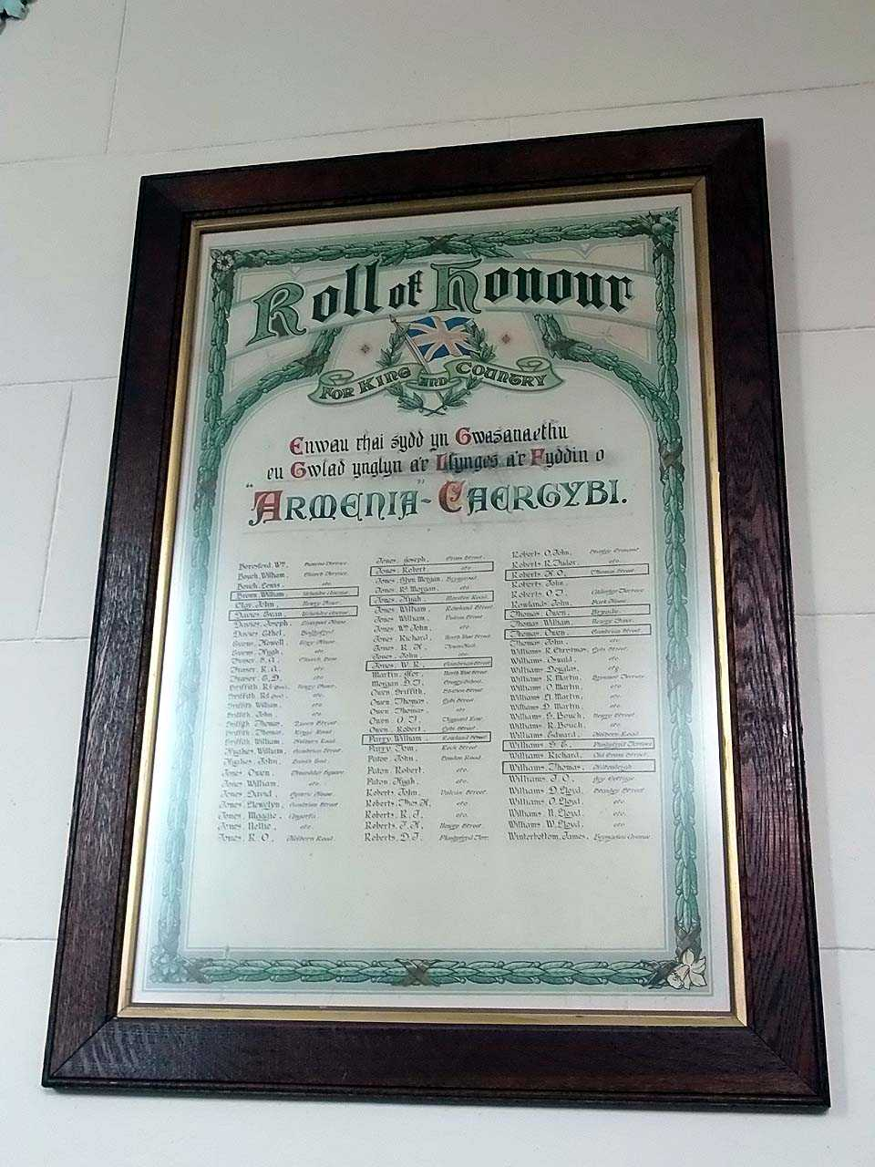 Anglesey, Holyhead, Armenia Chapel Roll of Honour