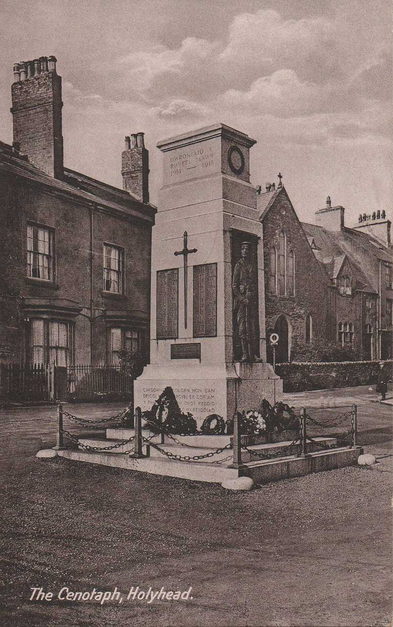 Anglesey, Holyhead, The War Memorial in its original  position showing the chapel that used to be near it