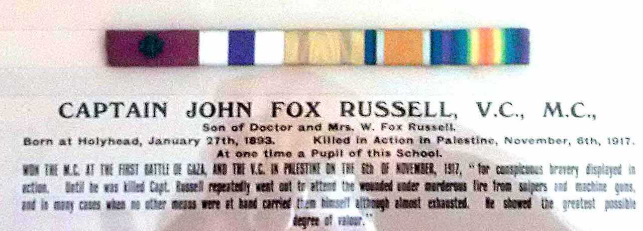 Captain John Fox-Russell V.C., M.C., Medal Ribbons on display at Thomas Ellis School in Holyhead