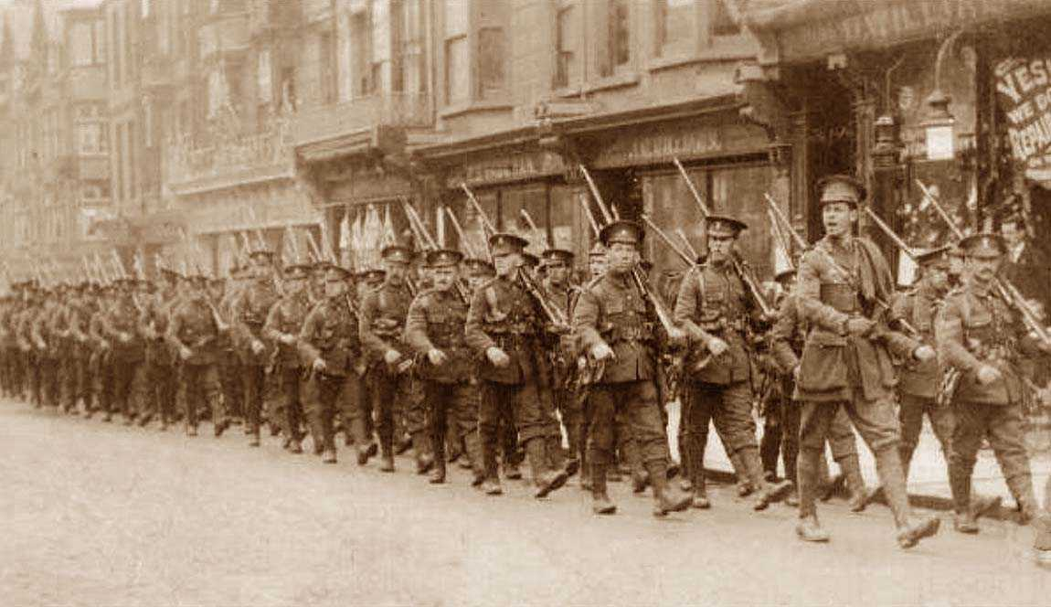 Henry Thornbury Fox Russell leading the Royal Welsh Fusiliers through Aberystwyth in 1914