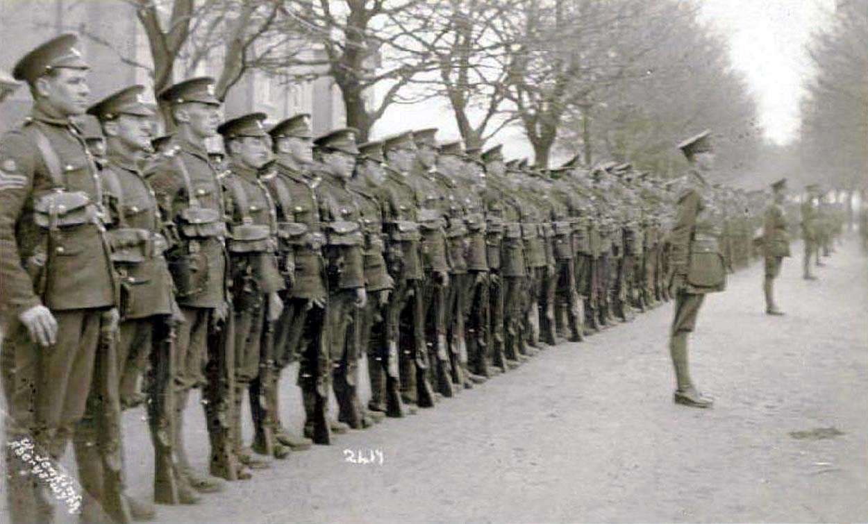 Henry Thornbury Fox Russell, at attention in Aberystwyth with the men of the Royal Welsh Fusiliers
