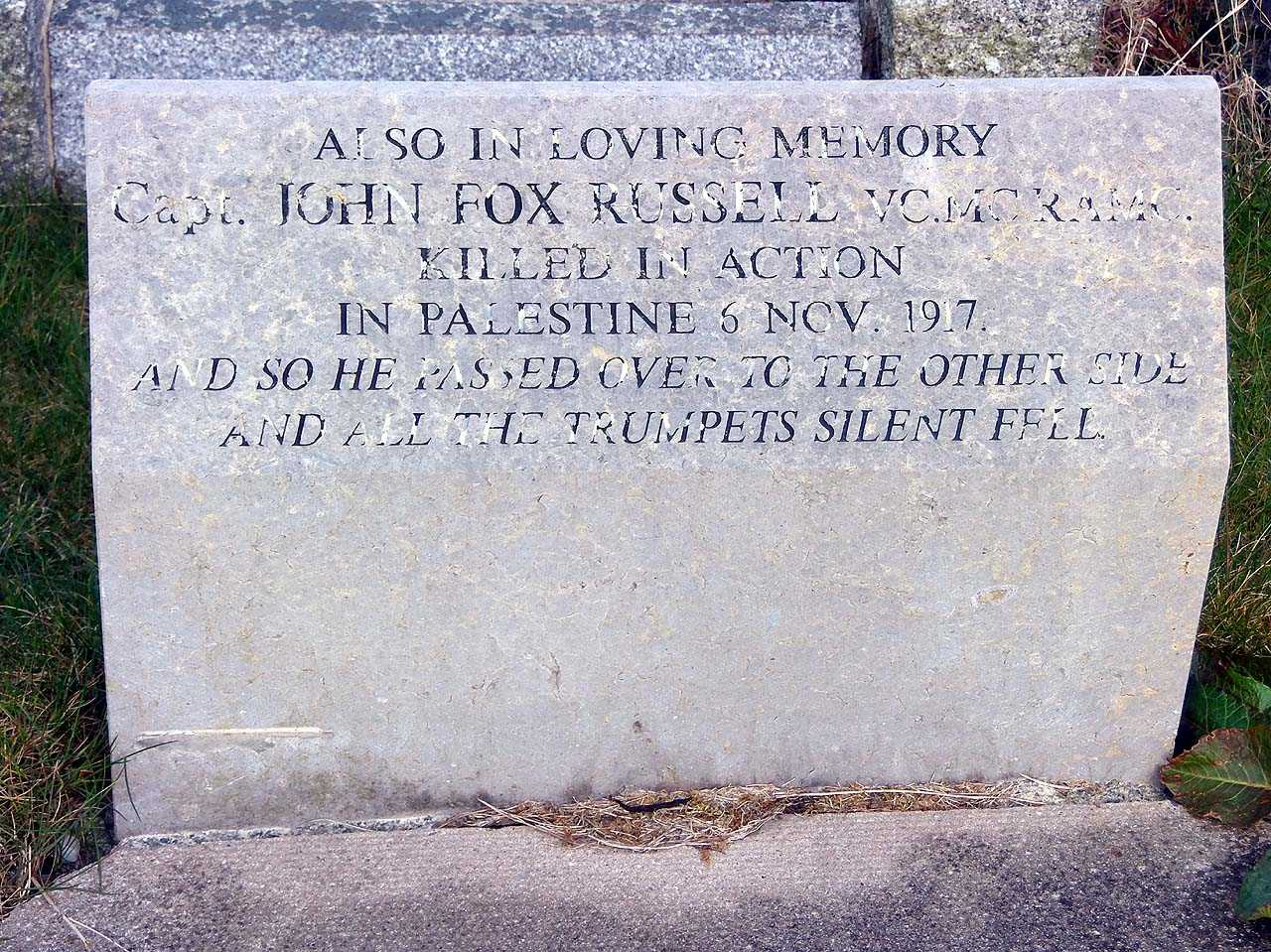John Fox Russell V.C., M.C., Captain R.A.M.C. Stone on his brothers grave in St Seiriols Churchyard Holyhead