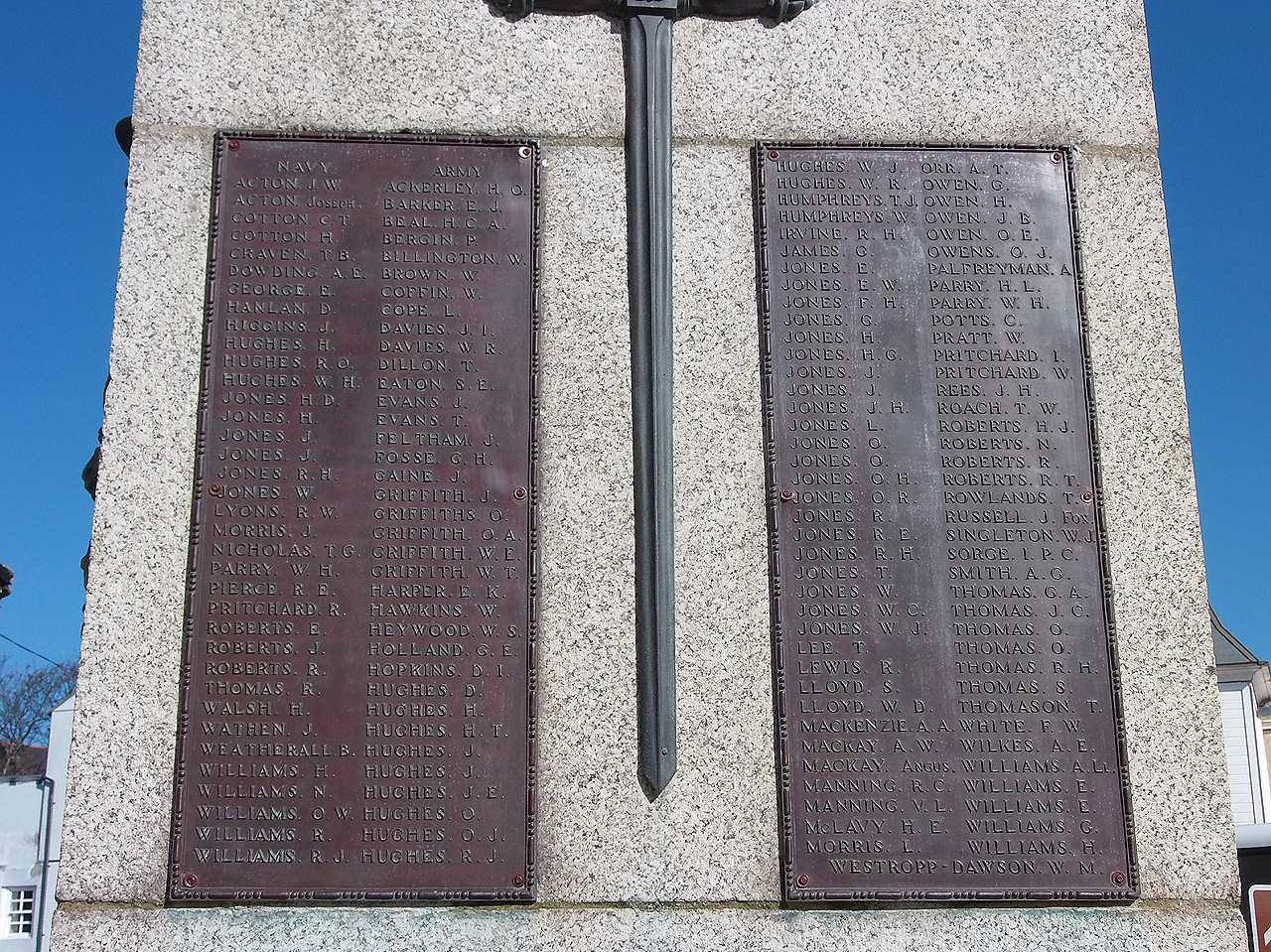 Holyhead War Memorial - WWI Navy and Army Casualties Names