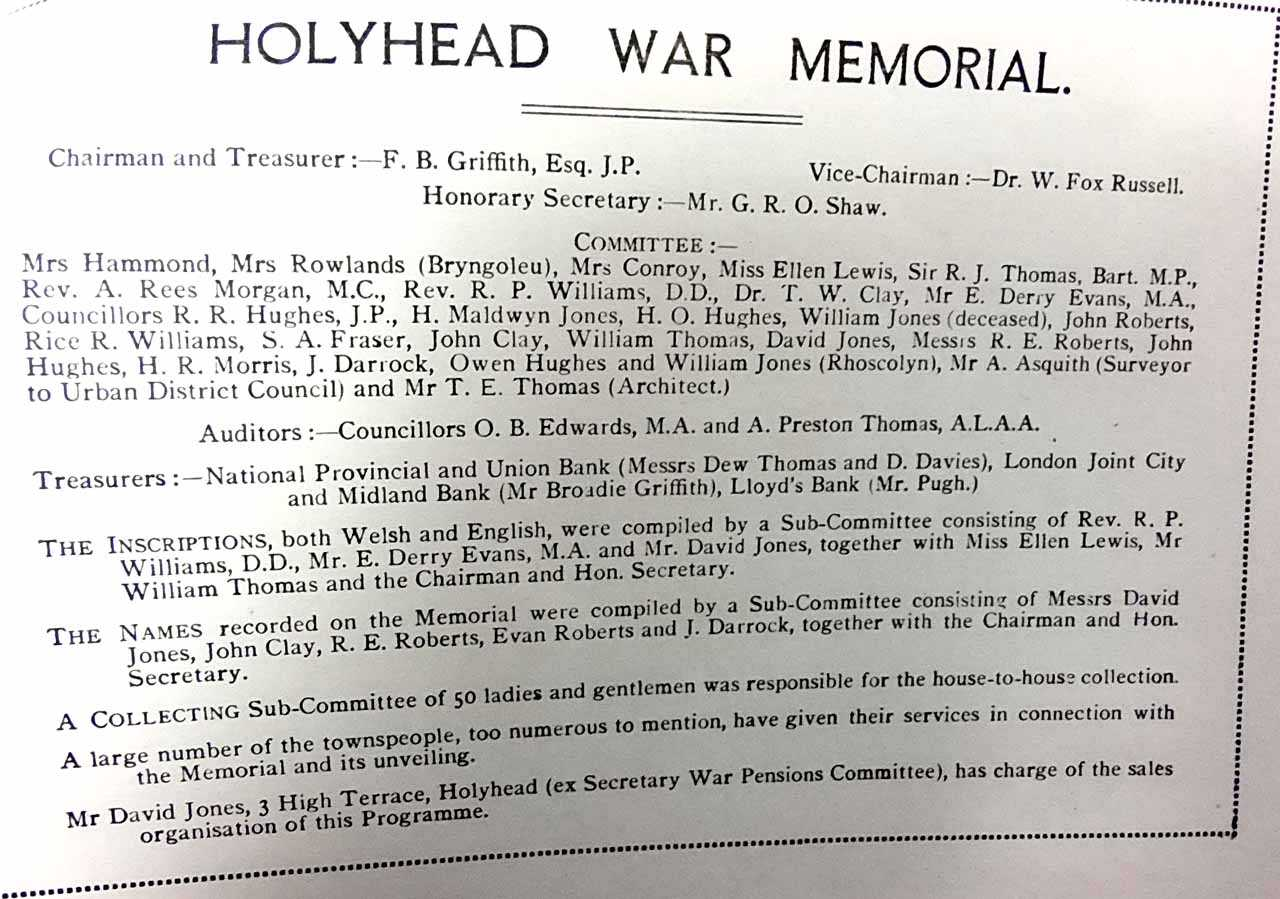 Holyhead War Memorial Committee Names