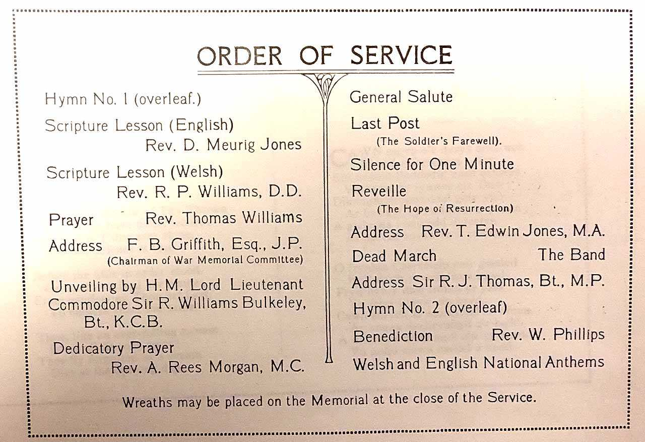 Holyhead War Memorial Unveiling Ceremony - Order of Service