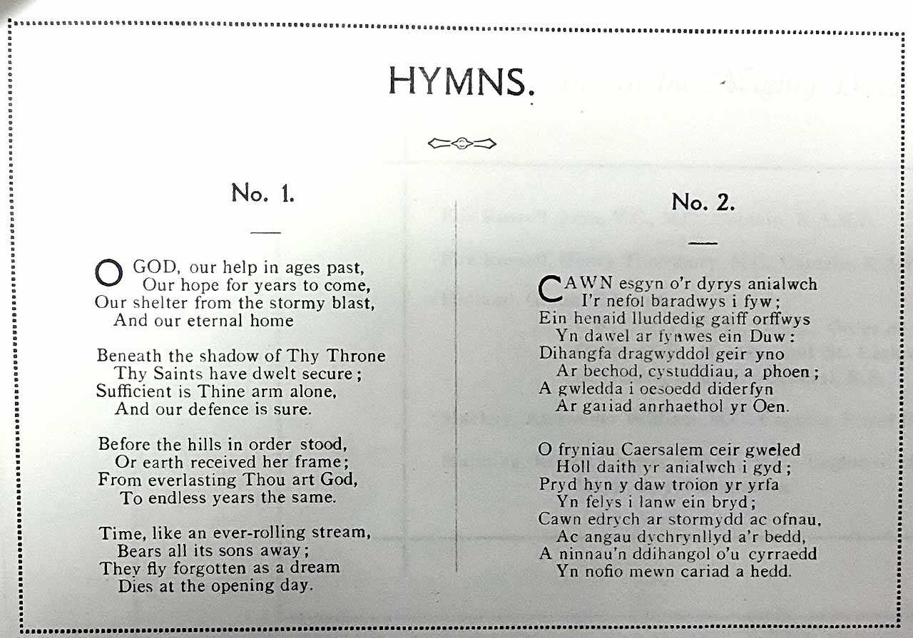 Holyhead War Memorial Unveiling Ceremony Hymns