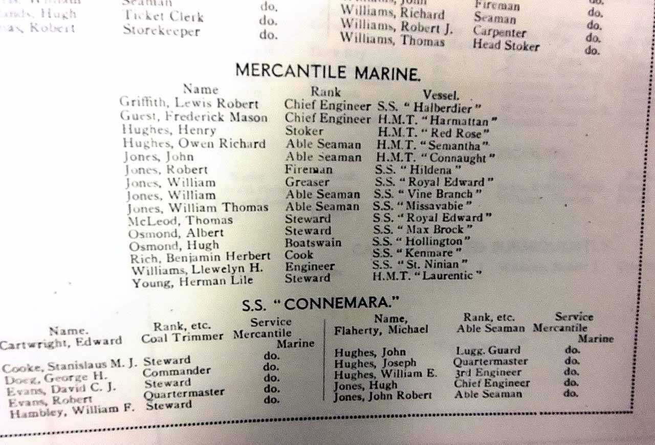 Holyhead War Memorial, Roll of Honour, Mercantile Marine and SS Connemara