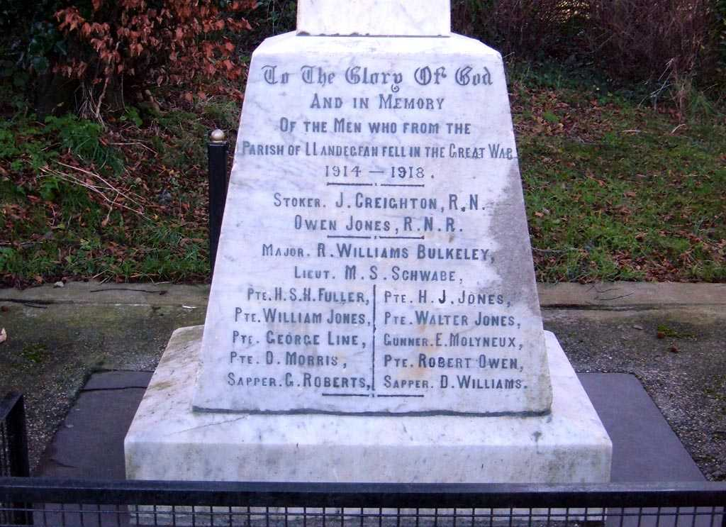 Llandegfan Parish Hall War Memorial Names