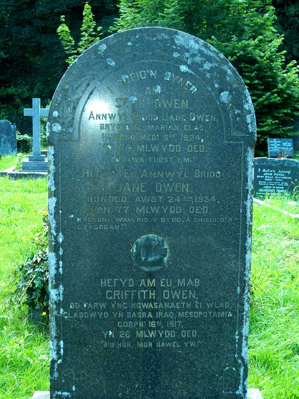 Anglesey, Llaneugrad, WWI Grave - a Memorial to Griffith Owen with inlaid Dead Mans Penny