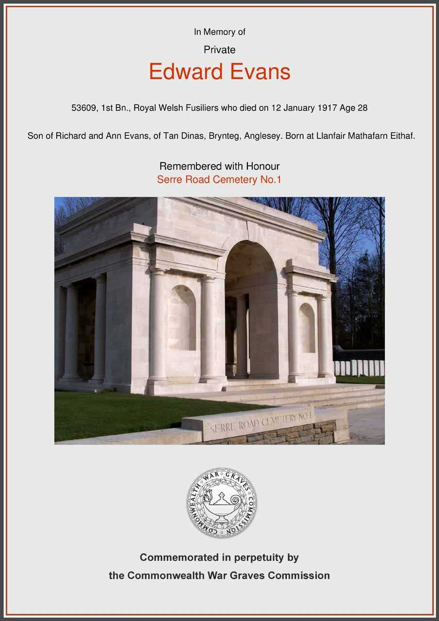 CWGC Memorial to Private Edward Evans died 1917 aged 28
