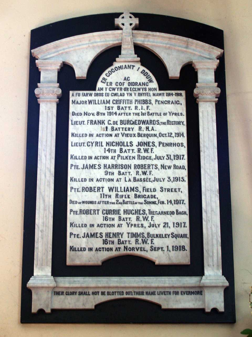 Anglesey, Llangefni Church, WWI War Memorial