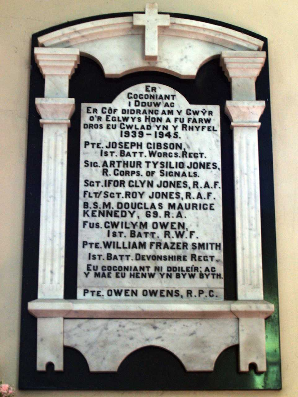 Anglesey, Llangefni Church, WWII War Memorial