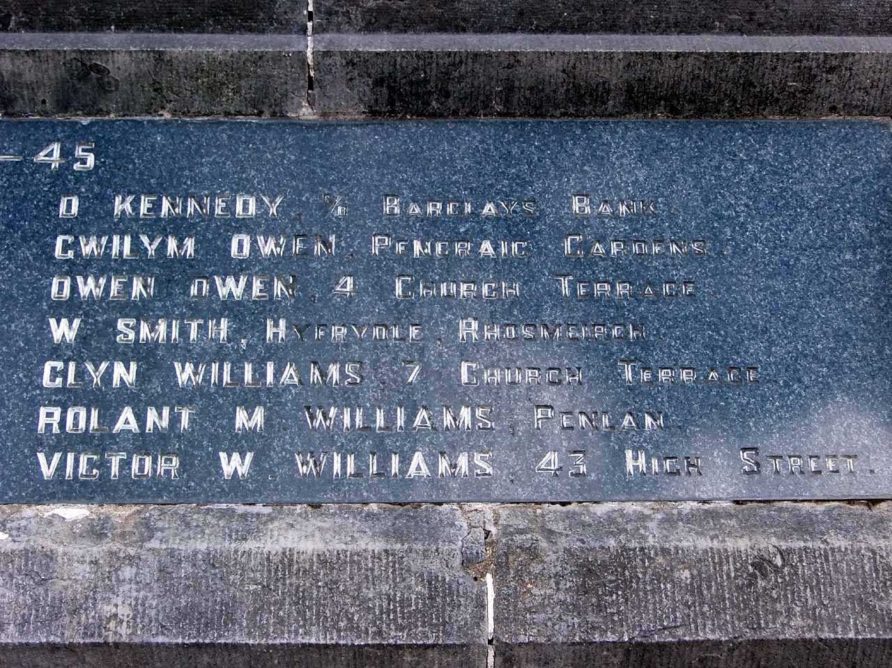 Llangefni War Memorial WWII Casualties Names right side