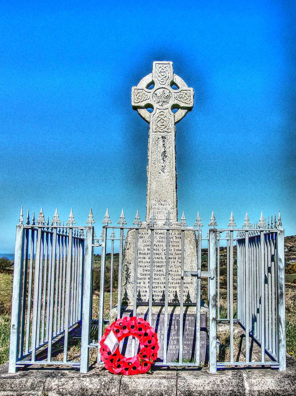 Anglesey, Penysarn War Memorial and Railings in hdr
