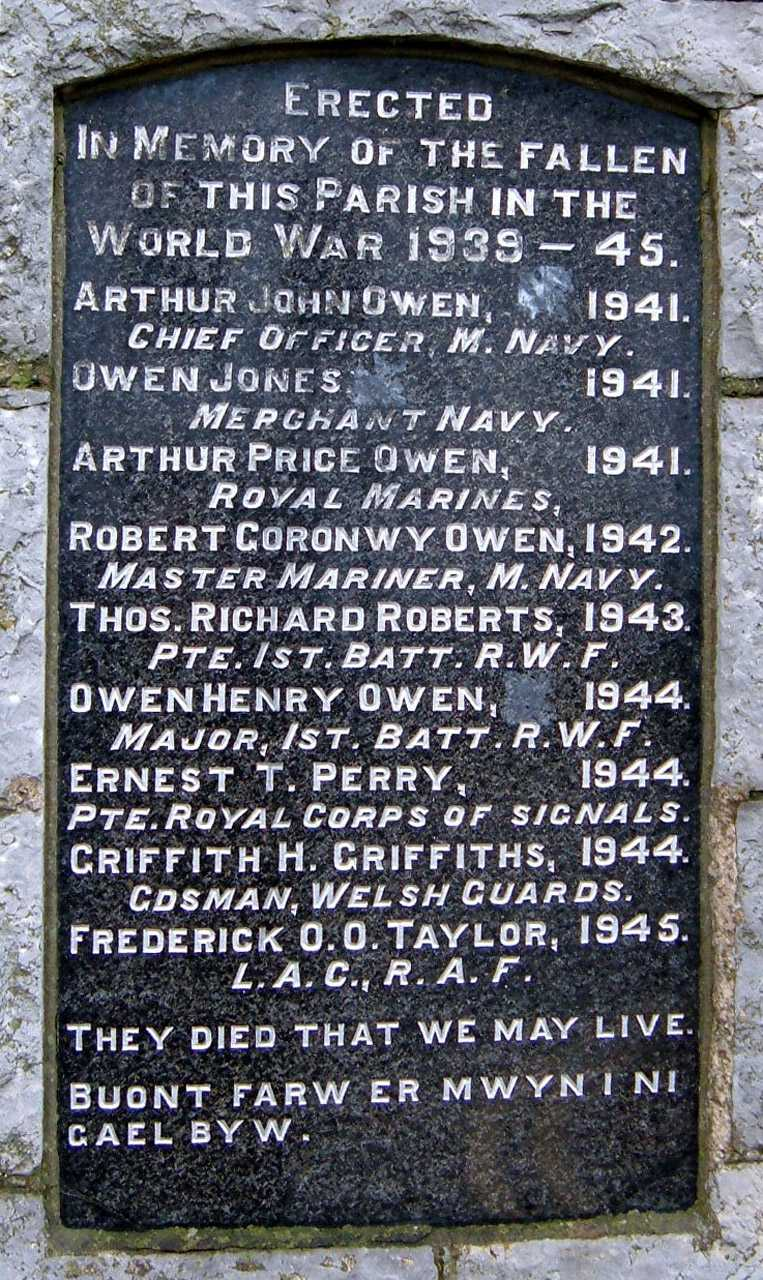 Anglesey, Rhosneigr, WWII War Memorial Names