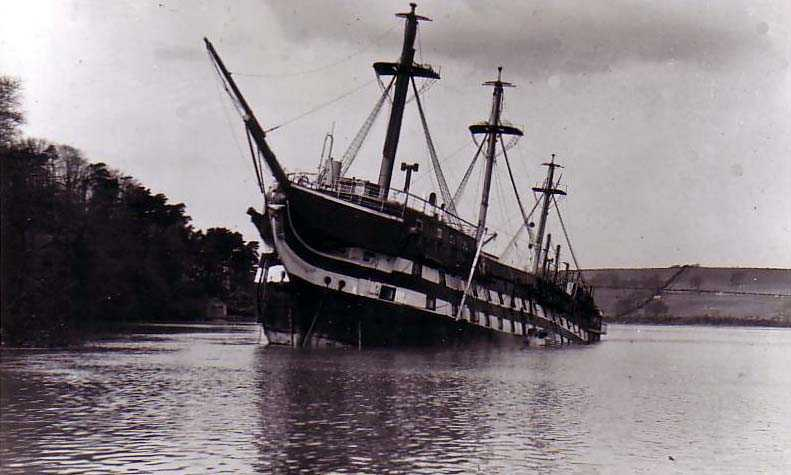 The ill-fated HMS Conway stuck in the Menai Straits