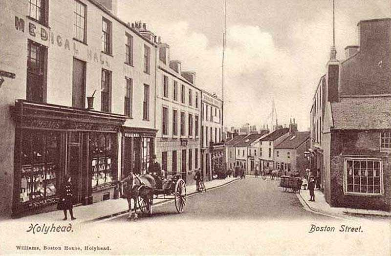 An old photograph of Boston Street in Holyhead